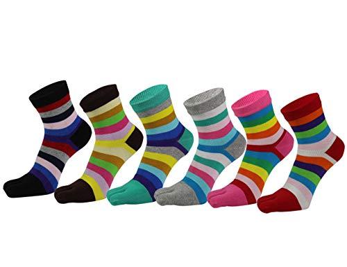 AIEOE 6 Paar Sneaker Socken Zehensocken Damen Sport Socken Baumwolle Fünf Finger Laufen Socken