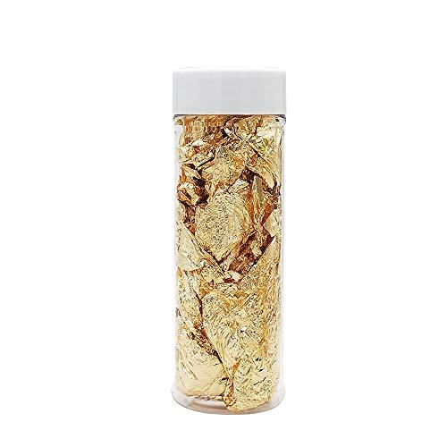 Powstro Essbare echte Blattgoldflocken, 2 g Gold dekorative Gerichte, Chef Art Kuchen Dekorationswerkzeug, für Kuchen Pralinen Dekorieren Kunsthandwerk