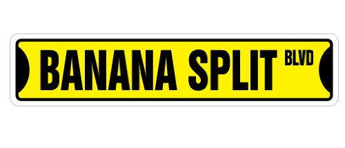 "BANANA SPLIT Street Sign ice cream shop lover parlor | Indoor/Outdoor | �18"" Wide Plastic Sign"