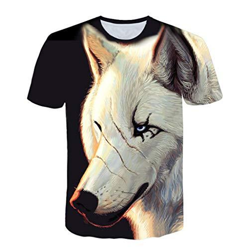 VPASS Camiseta para Hombre, Verano Manga Corta Hombre Unisex 3D Impreso Lobo Moda Diario Slim Fit Casual T-Shirt Blusas Camisas Camiseta Jaspeada de Cuello Redondo Suave básica Camiseta