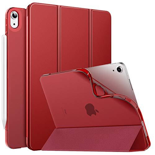 MoKo Funda para iPad Air 4ta Generación 2020 Nuevo iPad 10.9 2020, [Admite Carga Inalámbrica Apple Pencil] Cubierta Protectora Delgada Trasera Transparente TPU Auto-Reposo/Activación, Rojo