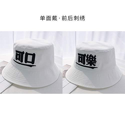 SHENTIANWEI Hat Korean weibliche Sommer Sonnenhut personalisierten Text Cola Eimer Hüte Frühling und Herbst Hut männliche Gezeiten (Color : White, Size : Einheitsgröße)