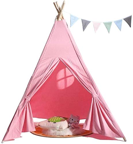 Barir Kids Teepee Indoor And Outdoor Games,Children Play Tent Pink Indian Playhouse,Great For Playroom Bedroom Photography Props Quieting Kids Teepee (Color : Without Cushions)