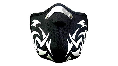 kenai dark Motorrad Neopren Maske white Tribal mit Feinstaubfilter, Biker Mask white tribal, Winddicht Staubdicht