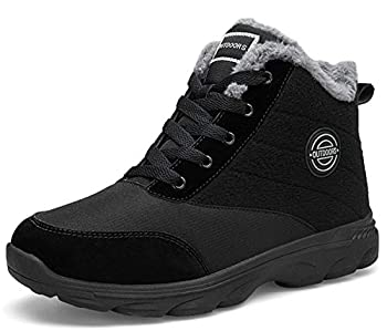 BomKinta Women s Snow Boots Keep Warm Surface Anti-Slip Soft Sole Warm Fur Lined Winter Ankle Booties Black Size 8