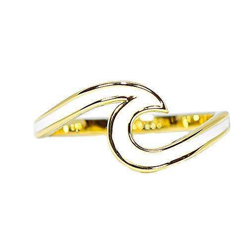 Pura Vida Gold Plated Enamel Wave Ring - .925 Sterling Silver, Brass Base Band - Size 9
