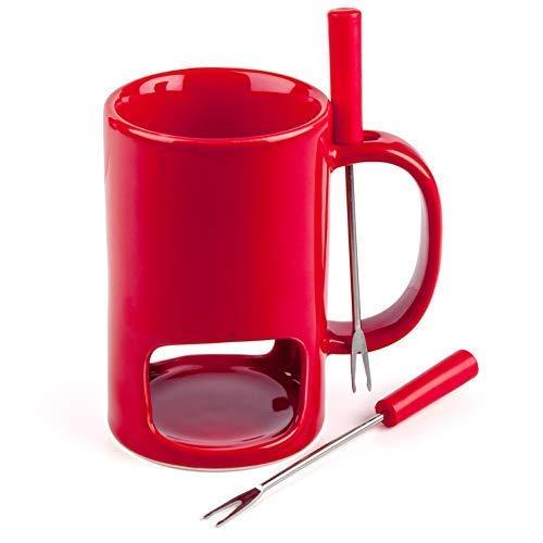 Tasse, Fonduetasse, Mini-Fondue-Töpfe, Geschenkset für Schokolade oder Käsefondue, rot