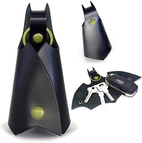 Keychain Llavero de Cuero para Hombre con Forma de Batman, Estuche Cartera para Varias Llaves de Coche o Moto, Regalo Original - Piel Sintética, Color Negro: Amazon.es: Coche y moto