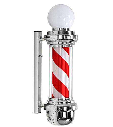 LED Classic Barber Pole Light Rotating Stripes with Light Bulb Barbershop Light - Red White Stripes- Waterproof Button Control Suitable for Business Spa/Bar,68X26cm