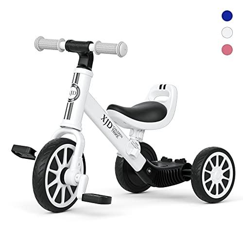 XJD 3 in 1 Kinder Dreirad Laufrad Klassiker 1.0 Lauffahrrad Kinderdreirad für 10-36 Monaten mit abnehmbares Pedal Höhenverstellbar Laufräder Jungen Mädchen Baby Balance Bike(Weiß b)