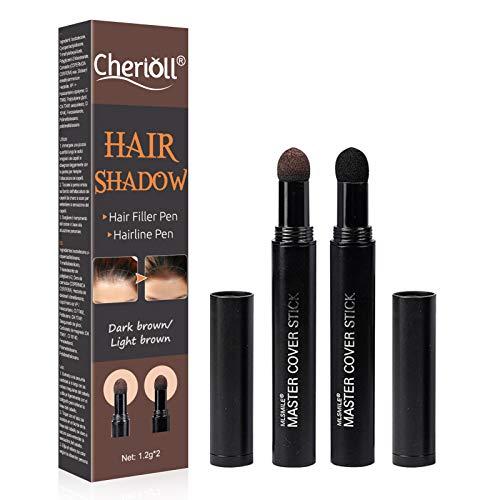 Ansatzpuder, Root Cover Up, 2 Brown, Haar Concealer, Ansatzpuder/Concealer/Haar Concealer zur Haarverdichtung für Frauen und Männer, wasserfestes Haar Make-up zum Ansatz Kaschieren