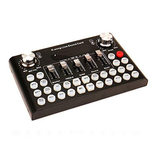 Ahagut Carte Son Externe Carte Son Live Professionnelle Table de mixage Audio Portable pour la Transmission en Direct Enregistrement du Chat (Noir)