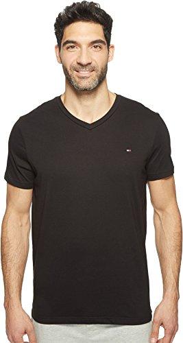 Tommy Hilfiger - Camiseta de cuello en V para hombre, playera con cuello en V, L, Negro