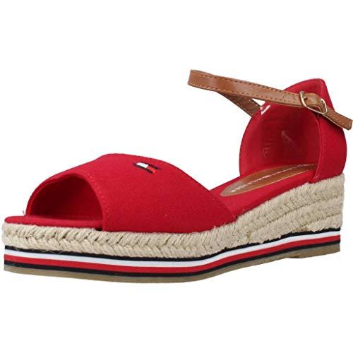 Tommy Hilfiger Kinder Schuhe Rope Wedge Sandal Blue and Red für Mädchen, Farbe:Rot, Größe:EUR 34