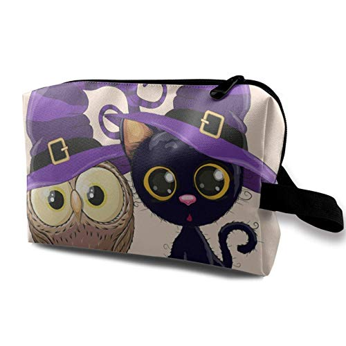 XCNGG Travel Makeup Storage Bag Portable Toiletry Handbag Small Cosmetic Organizer Pouch for Women & Men Halloween Black Kitten And Owl On A Branch