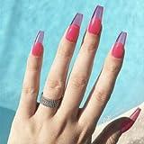YZLIIN UñAs Postizas 24Pcs / Set Bailarina Larga Uñas Falsas Pre-Diseño Púrpura Rojo Cubierta Completa Ataúd Uñas Falsas Belleza Nail Art Decal
