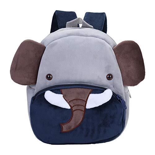BAIGIO Mochila Infantil Kindergarten,Pequeñas Mochilas Bolsas Escolares de Dibujos Animados Animales para Niñas Primaria 3D Suave Mochila de Felpa Bebe Guarderia Preescolar para 2-4 Años (Elefante)