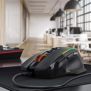 Gaming Maus, Ergonomisch RGB Maus, Holife 8000DPI & 8 programmierbar Tasten, Gamer Mouse mit komfortable Griff, PC   Laptop