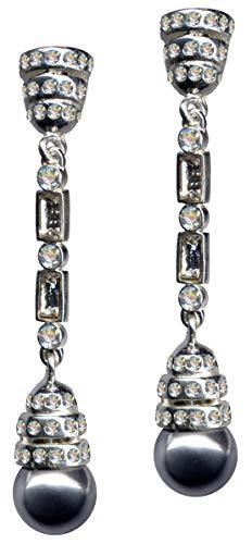 Pendientes Art Deco, perlas blancas, plata de ley 925, circonitas, brillantes, plata de ley 925, símbolo de amor, diseño de objeto, color blanco, extravagante, a la moda, transparente