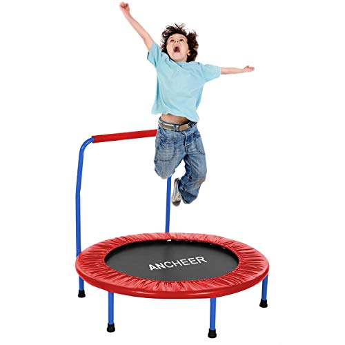 ANCHEER Trampolin Kinder 36\'\' Inch Mini Trampolin für Drinnen,Klappbar Fitness Kindertrampolin Indoor,Kind Minitrampolin mit Haltegriff,mit Haltegriff Belastung Bis 75kg