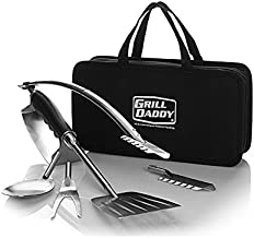 Grill Daddy BBQ Tailgate Grill Accessories Set - 6 Piece Full Size Barbeque Set - Spatula Tongs Fork Spoon and Multitool - Comes in Nice Carrying Case - Great Gift - Easy Storage