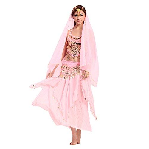 VENI MASEE Damen Bauchtanz Kostüm Set Sexy Kostüm Damen - Sechsteiliges Set - Pink