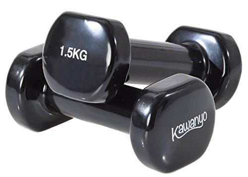 Kawanyo Mancuernas de vinilo, un par de 2 unidades, para entrenamiento de fuerza, gimnasia y ejercicio, pequeñas mancuernas resistentes, 2 x 1,5 kg.