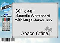 Abaco Office マグネット式ホワイトボード 60x40インチ ホワイトボードマーカー4個 + マグネット2個 マーカートレイと取り付け金具付き ホームオフィス 教室 オフィス 会議室