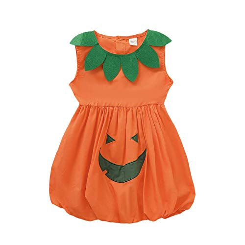 Toddler Baby Girls Halloween Dress Kid Girl Pumpkin Spooky Cartoon Print Skirt Outfit All Saints' Day Sundress(Kids Pumpkin Dress, 3-4 T)