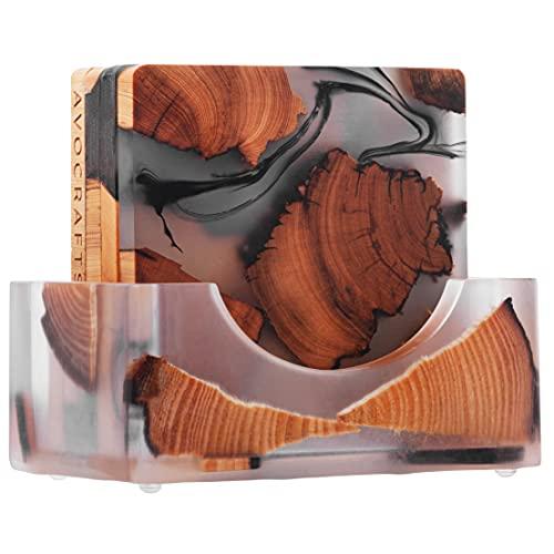Avocrafts Wooden Coasters Set, Epoxy Coasters, Modern Coasters with Holder, Cedar Wood Coaster (4, Add Holder)