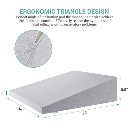 RECCI-Wedge-Pillow-100-Memory-Foam-Orthopedic-Support-Pillow-for-Sleeping-Reading-Rest-or-Elevation-Acid-Reflux-Removable-Cover-Elevated-Support-for-Neck-Back-and-Legs-28-x-24-x-85