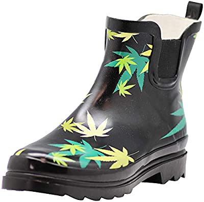 NORTY - Womens Ankle High Cannabis Multi Color Leaves Print Rain Boot, Black 41298-9B(M) US from Norty