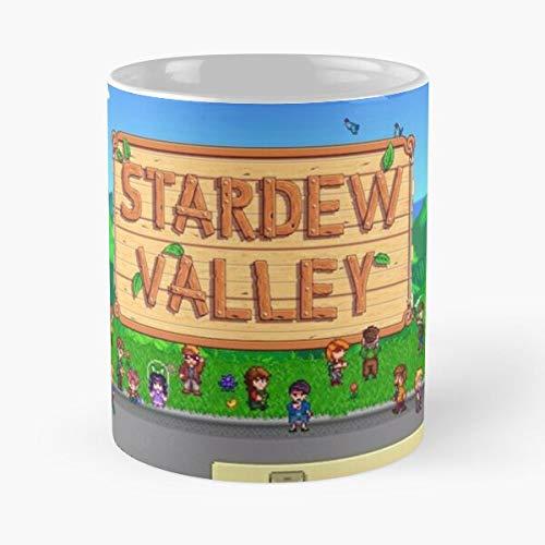 MIFUKO Game Romantic Valley Stardew Robin Abigail Indie La Mejor Taza de café de cerámica de mármol Blanco de 11 oz