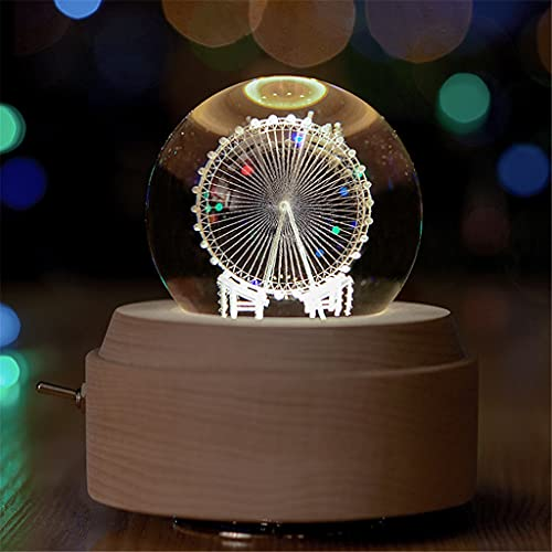 HDDFG Ferris Wheel Spinning Music Box Caja de música Regalo de cumpleaños Regalos de Boda de Navidad Artesanía