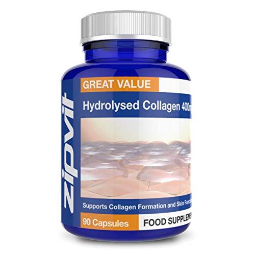 Collagen 400mg, 90 Capsules of Hydrolysed Collagen Powder with Vitamin C. for Normal Skin and Collagen Formation.