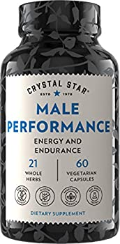 Crystal Star Male Performance Booster  60 Capsules  – Herbal Supplement That Promotes Energy and Endurance - Maca Ginkgo Biloba Tribulus Terrestris & American Ginseng - Non-GMO