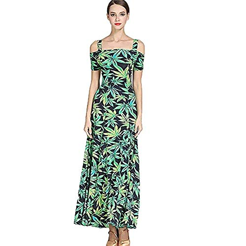 Zjx Ice Silk Print Adult Modern Dance Skirt Dress Ballroom Dance Dress (Color : Green, Size : XXL)