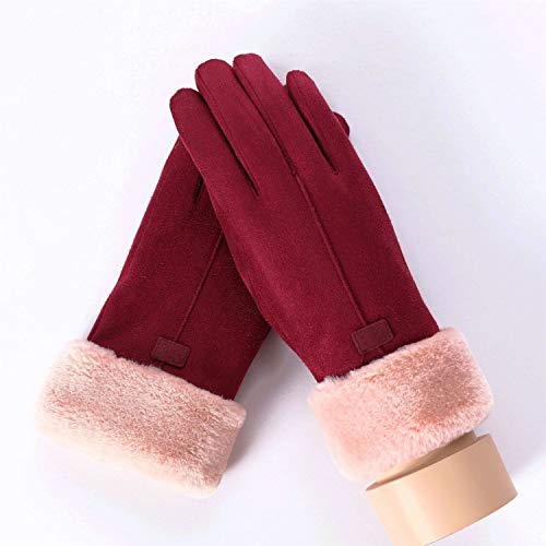 TONGDAUR Capa Ante de Las Mujeres Guante de Invierno Doble Manoplas Peludo Caliente Guantes del Copo de Nieve Bordado al Aire Libre (Color : 081C T Wine Red, Gloves Size : One Size)