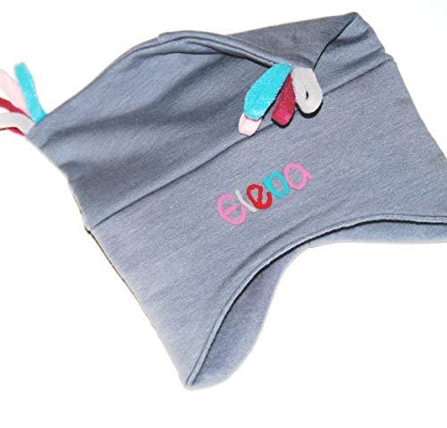 Kuschelmütze Jungen mit Namen grau - Personalisierte Mütze für Kinder Winter - Kindermütze Babymütze Babyhaube Wintermütze mit Wunschbeschriftung