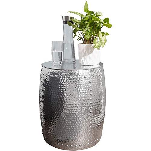 FineBuy Beistelltisch PADRO 42 x 49 x 42 cm Aluminium Silber Dekotisch orientalisch rund   Kleiner Hammerschlag Abstelltisch   Designer Ablagetisch Metall modern   Anstelltisch schmal
