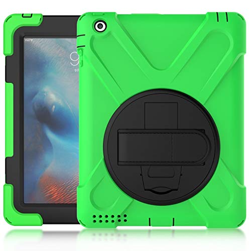 JIANWU Cover, Pirate series Three-in-one Shatter-Resistant Shell, Drop-Proof, Dust-Proof, Shock-Proof, Splash-Proof 360 Degree Rotating Multi-Function Grip Bracket for iPad2/3/4 (Color : Green)