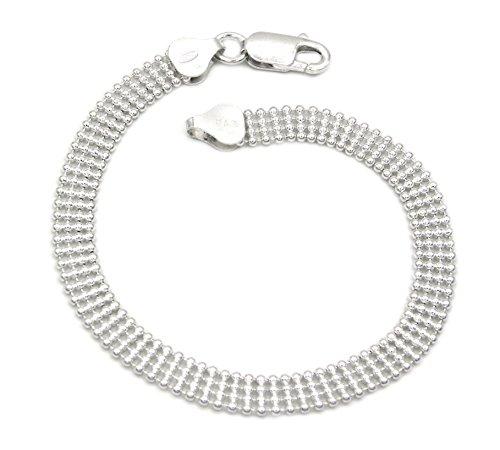 Kugelarmband 925 Sterling Silber rhodiniert 4-reihig 6,1mm breit Länge wählbar 19-20 cm Kugelkette Silberkette Armkette Armkettchen Armband (20)