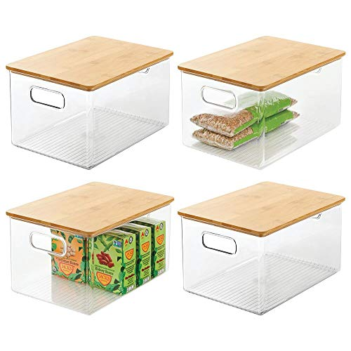 mDesign Plastic Stackable Kitchen Pantry Cabinet, Food Storage Bin Box with Handles, Lid - Organizer for Packets, Jars, Snacks, Pasta - 4 Pack - Clear/Bamboo Lid