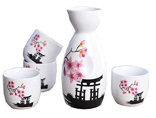 5 PCS Liqueur Japonaise Sake Set Porcelaine Traditionnelle en céramique Coupes Artisanat Température Verres à vin-A15