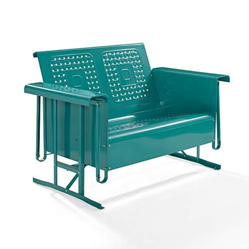 Crosley Bates Loveseat Glider Turquoise Gloss