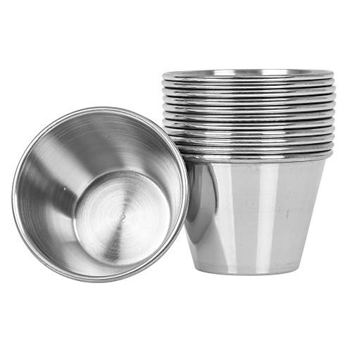 (12 Pack) Stainless Steel Sauce Cups 2.5 oz, Commercial Grade Dipping Sauce Cups, Individual Condiment Cups/Portion Cups/Ramekins by Tezzorio
