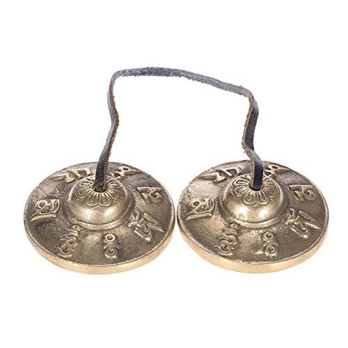 Kongqiabona Forfar Tingsha Campana tibetana Meditación Artesanal Cymbal Bell Cobre Sonido nítido Lucky Symbols Templo Budista