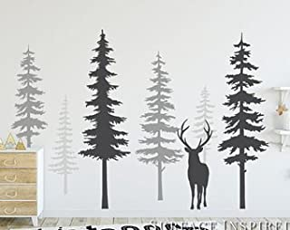 Nursery Wall Decals Pine Tree Wall Decals With Large Deer Wall Decal Wall Mural Stickers Nursery Tree Art Nature Wall Decals Scandinavian