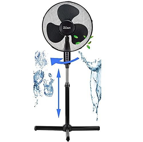 Standventilator leise Ø41 cm | Luftkühler | Klimagerät | Turmventilator | Bodenventilator | Ventilator | Windmaschine | Fan | Höhenverstellbar (Schwarz)