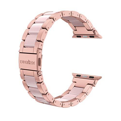 Wearlizer für Apple Watch 38mm Armband 42mm, Edelstahl Metall Harz iWatch Straps Ersatzband Uhrenarmband Wristband für iWatch Serie 5 Serie 4 Serie 3 2 1-38mm Rose Gold